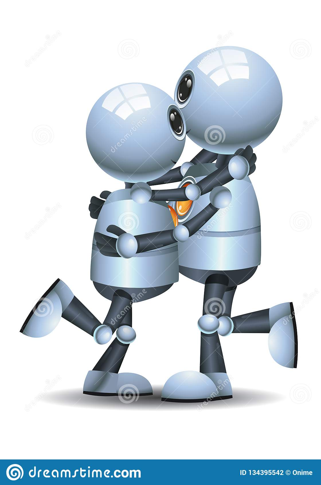 Little robot couple dance on isolated white background