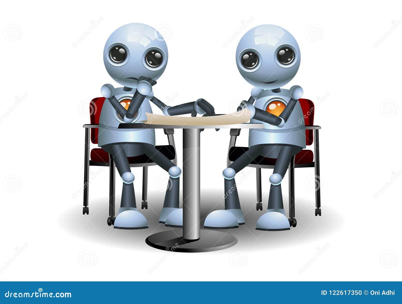 Little robot doing meeting conversation