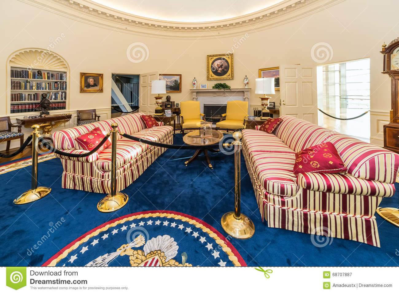 little rock ar usa circa february 2016 replica of white house 39 s oval office in bill clinton. Black Bedroom Furniture Sets. Home Design Ideas