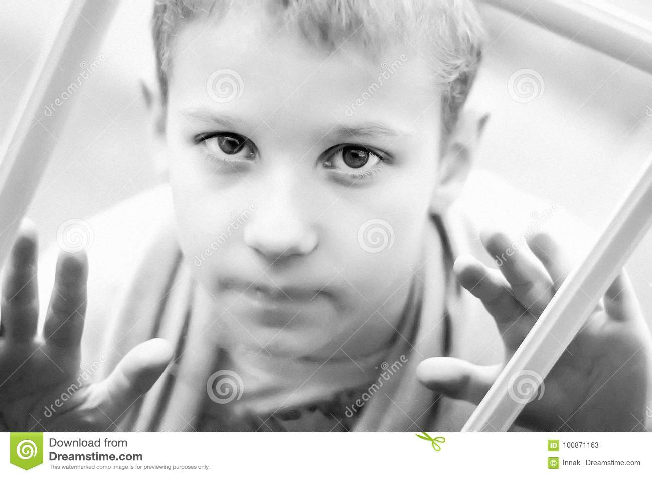 Little Sad Boy Looks Out The Window Black And White Photo Of A Close Up Child Hungry Child With Big Clear Eyes Eating Bread Stock Image Image Of Child Empty 100871163