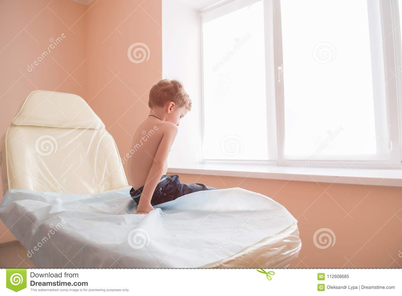 Swell Little Sad Boy Sit In Hospital Couch Stock Image Image Of Alphanode Cool Chair Designs And Ideas Alphanodeonline