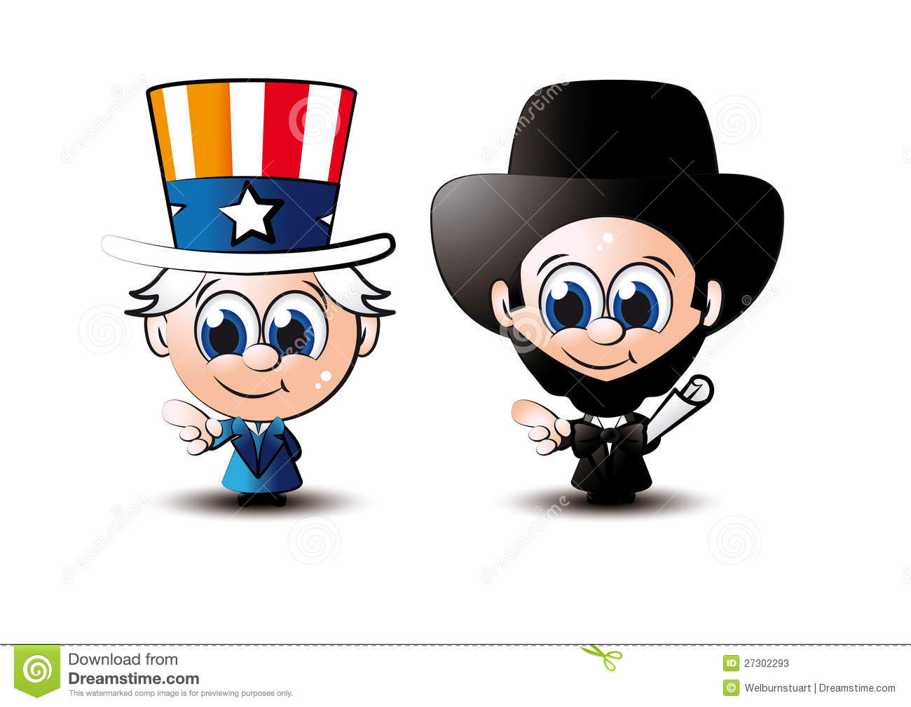 Little Sam And Abe Stock Vector Illustration Of Vector 27302293