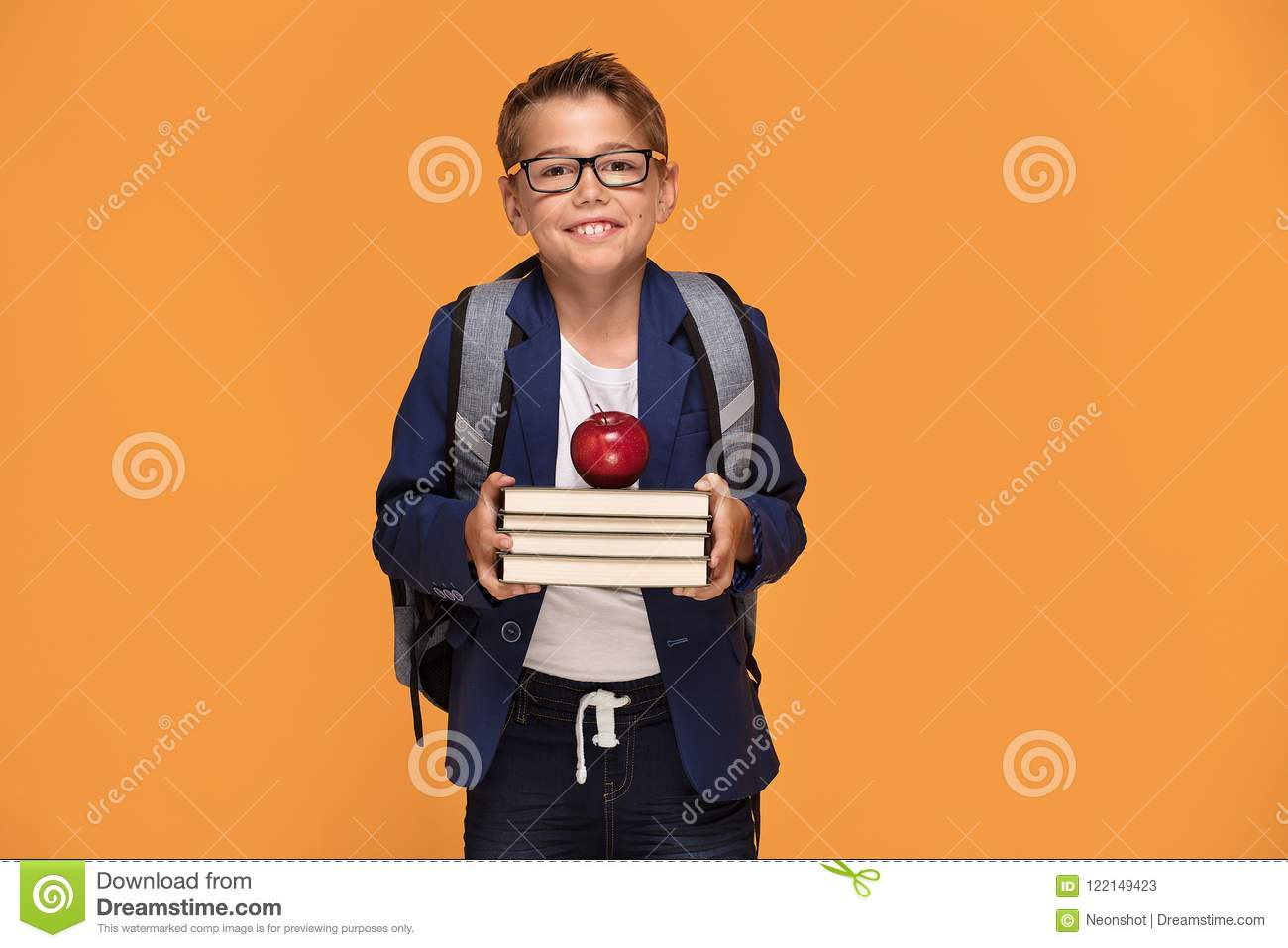 d4c5f5fda4 Little School Boy With Backpack And Books. Stock Image - Image of ...