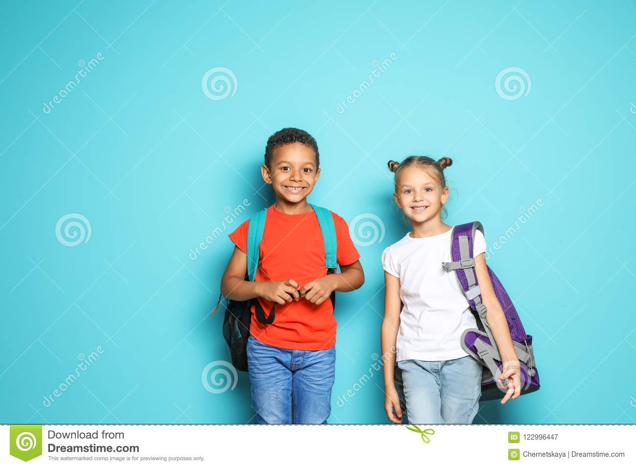 a2e8b61970 Little School Children With Backpacks Stock Image - Image of little ...