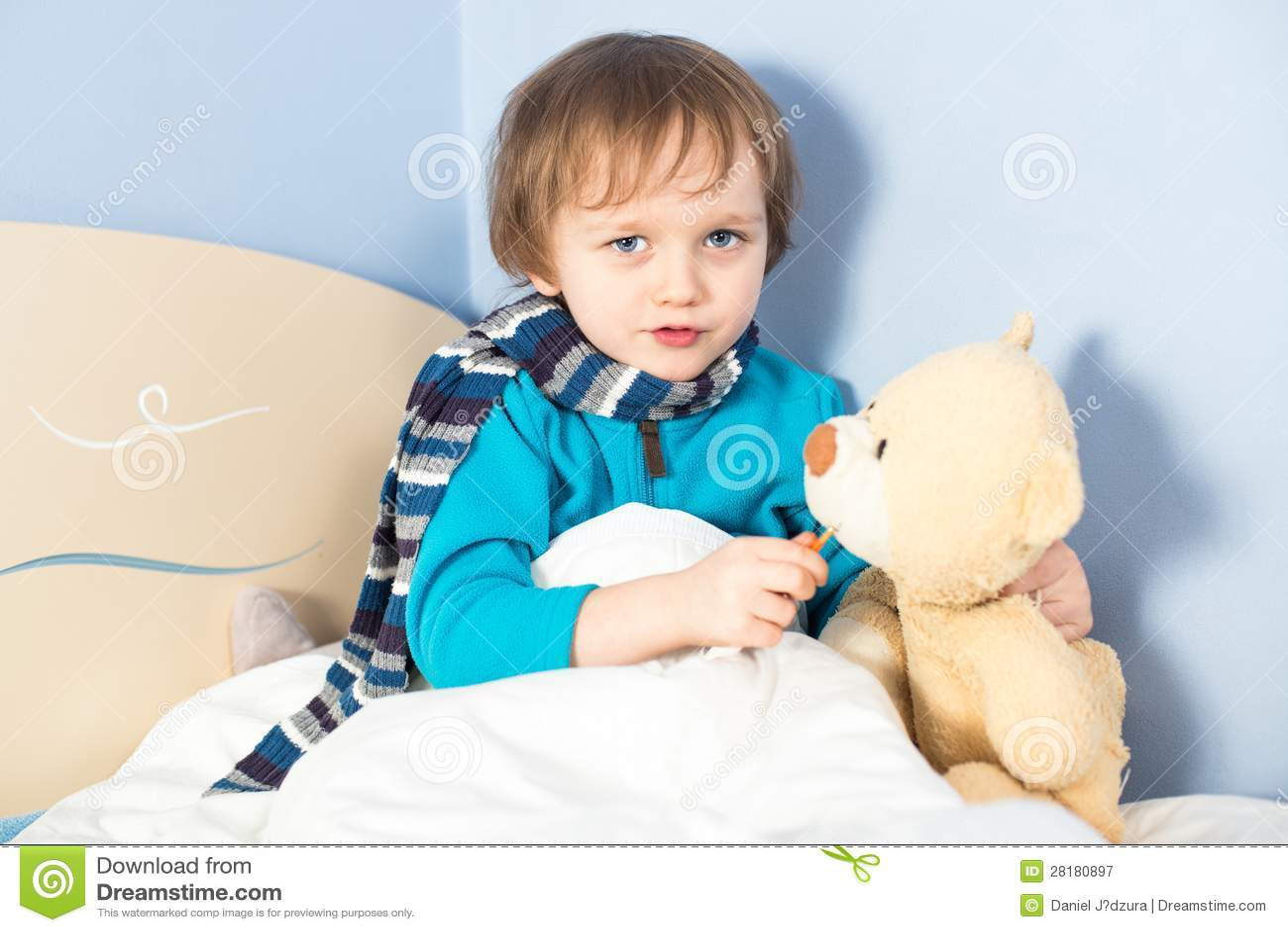 Little Sick Baby Boy Checking Teddy Bear S Body