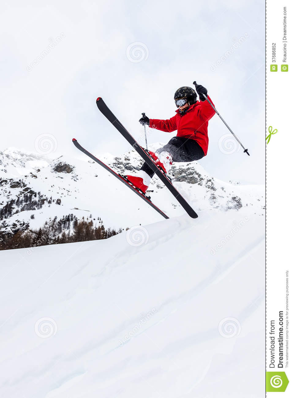 Little Skier Jumping In The Snow. Stock Photography ...