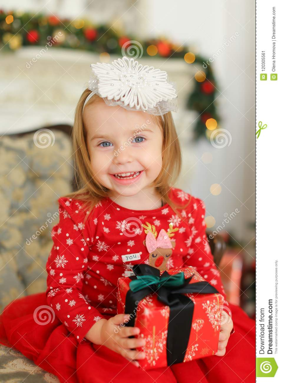 f8ed2a8cc Little Smiling Girl Wearing Red Dress