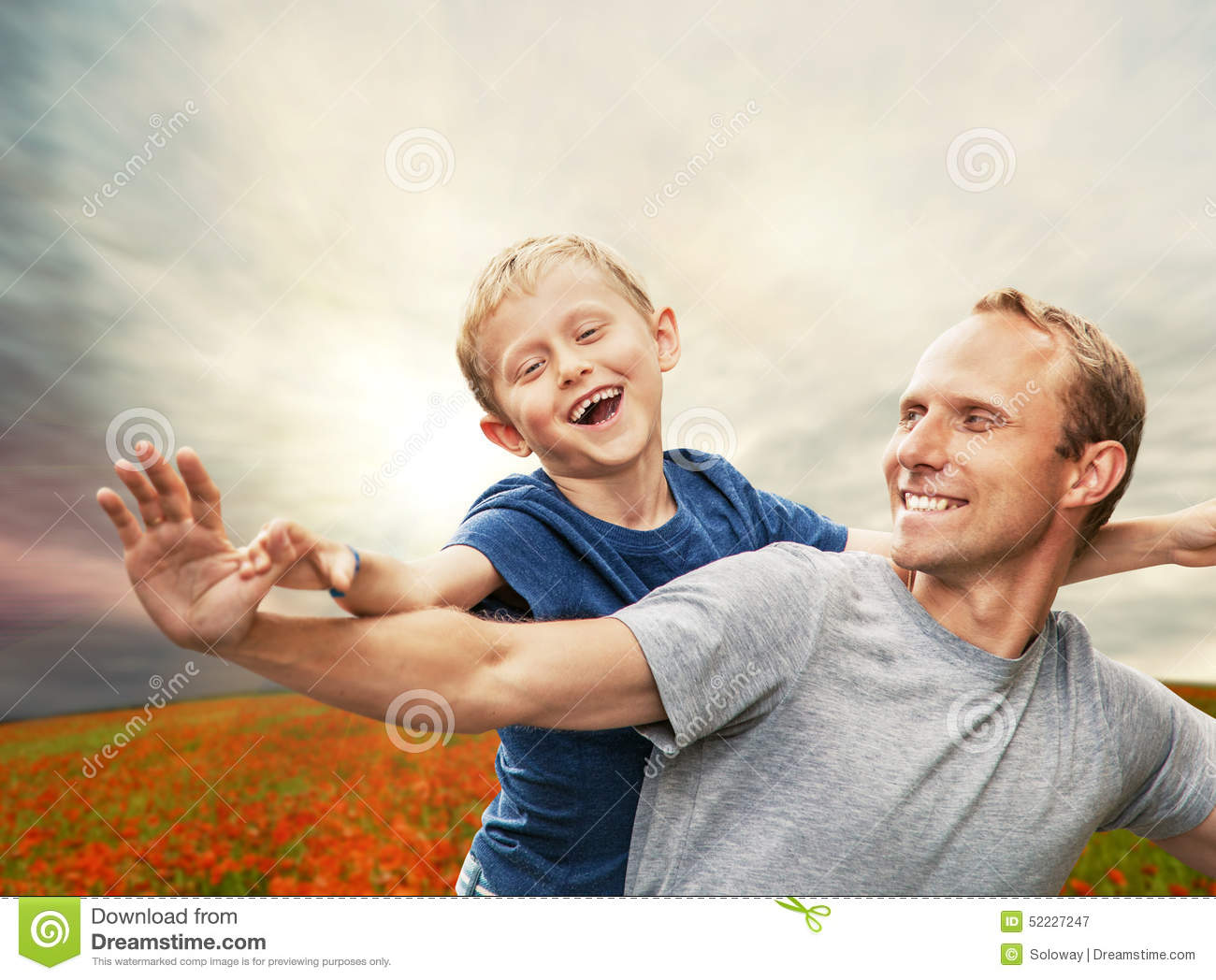 Download Little Son With Father On The Poppies Field Stock Image - Image of parent, casual: 52227247
