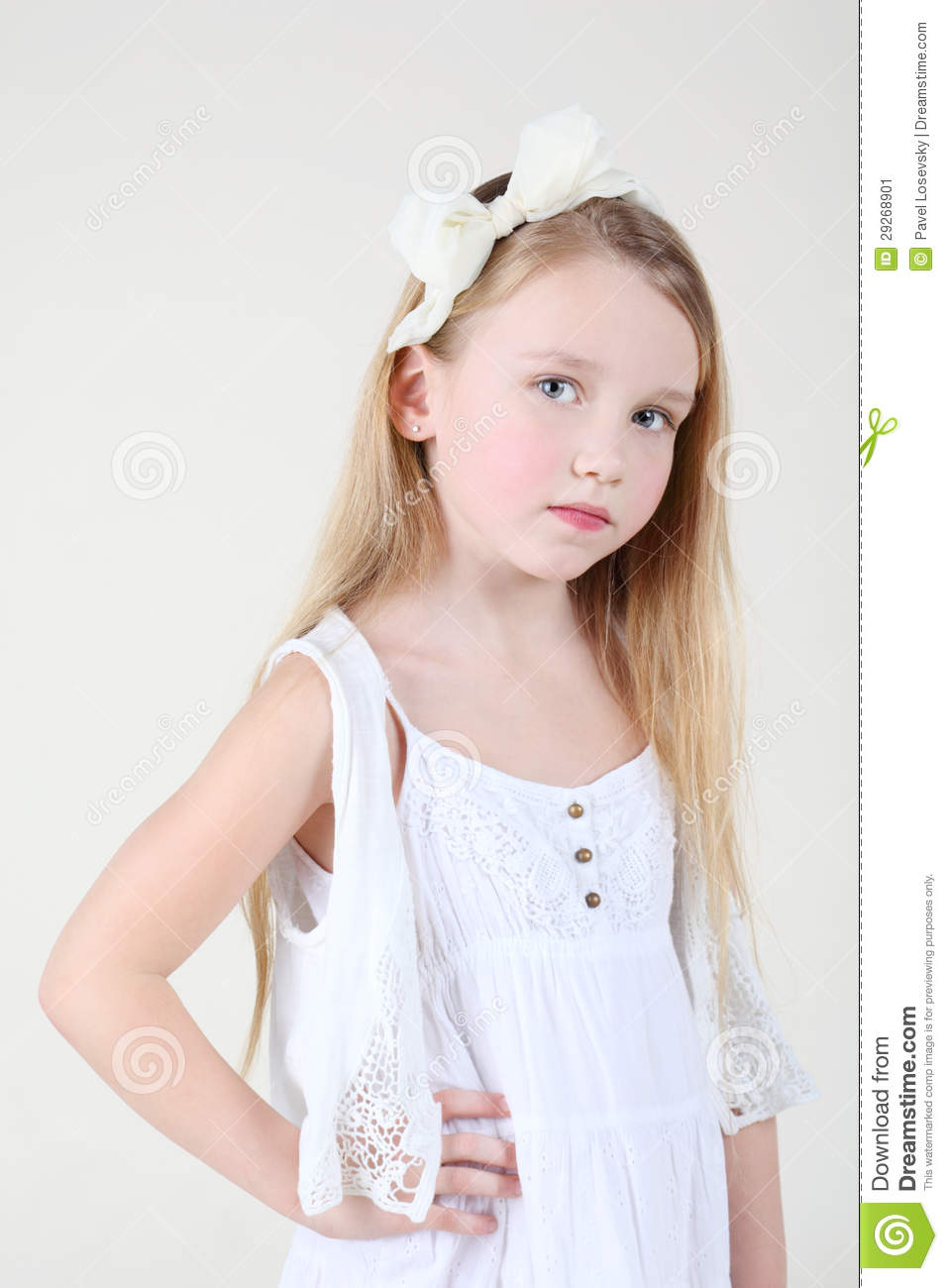 Little sorrowful girl in clean white dress with bow in her hair stock image image 29268901 - Pics of small little girls ...
