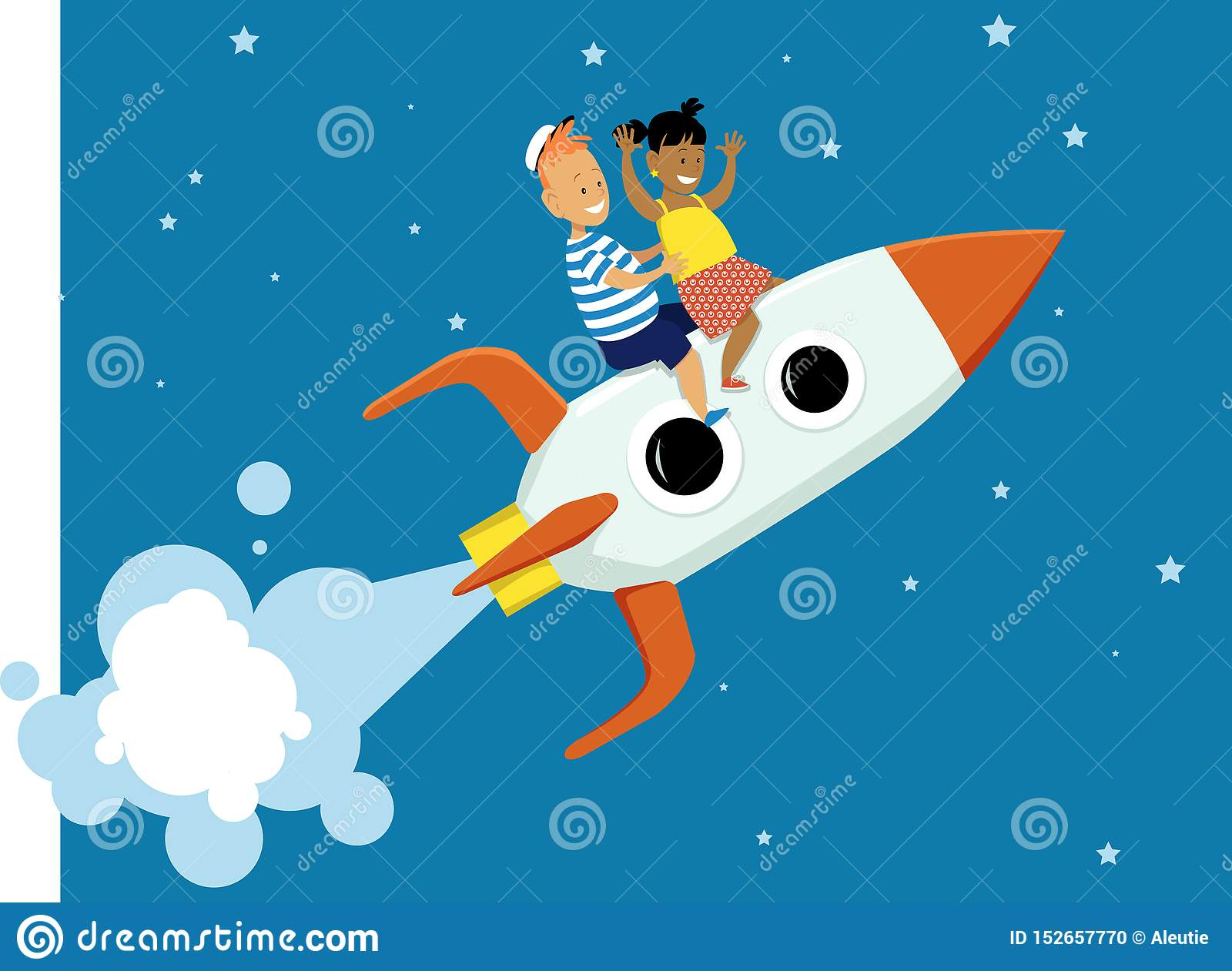 Little space travelers stock vector  Illustration of