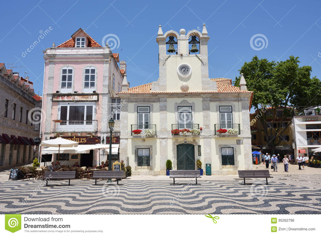 Little Square In Cascais Portugal Editorial Photo Image Of