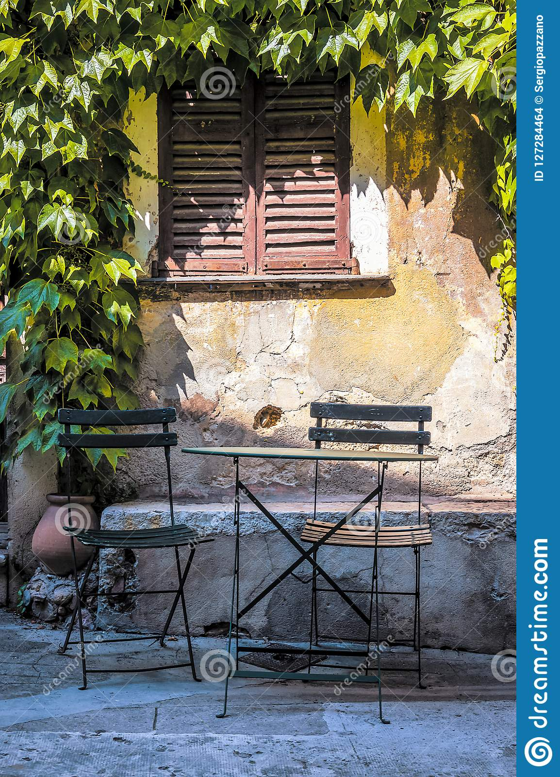Little square in the medieval Provencal village of Roquebrune Cap Martin in French Riviera