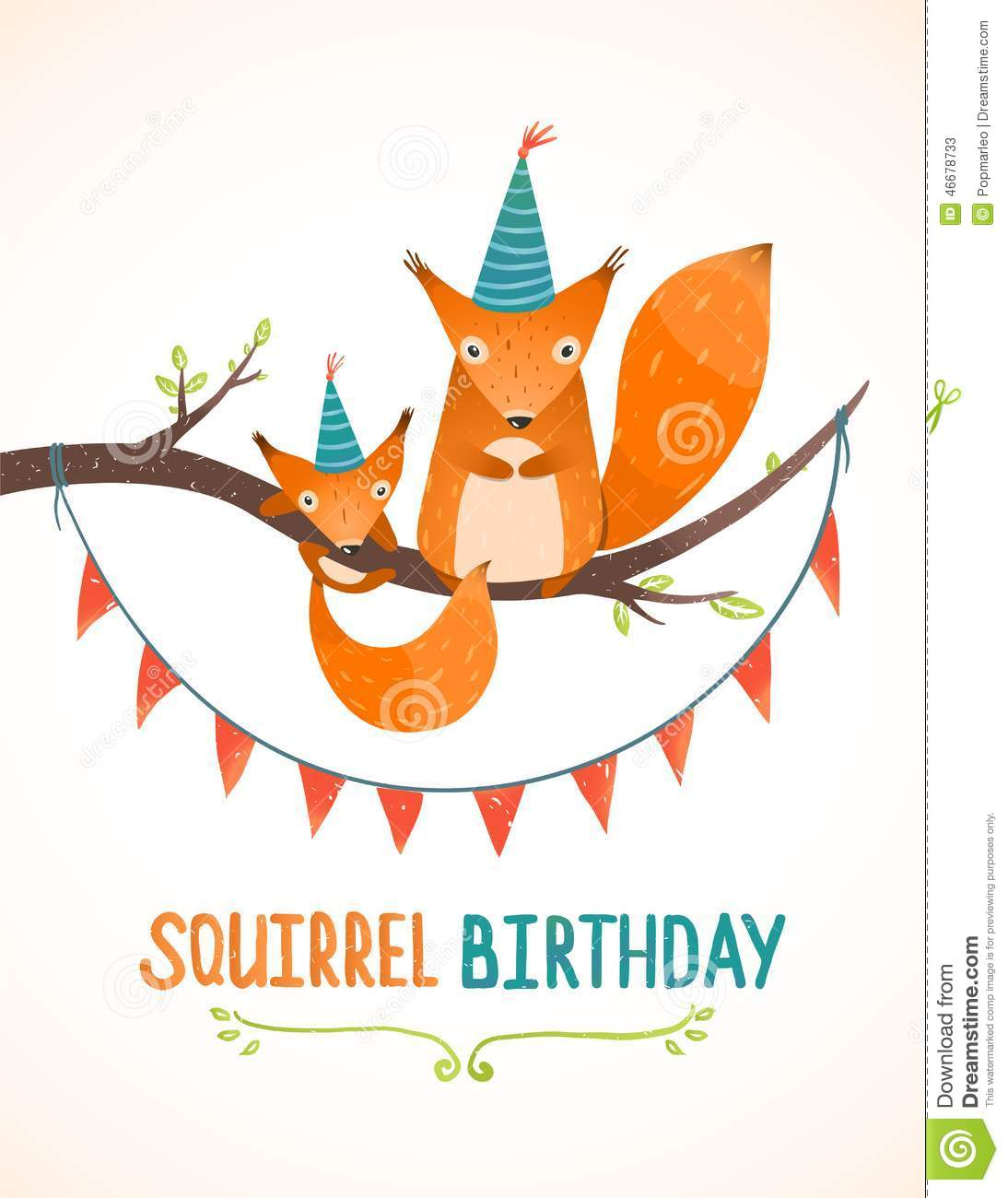 Little squirrel and mother birthday greeting card stock vector little squirrel and mother birthday greeting card kristyandbryce Images
