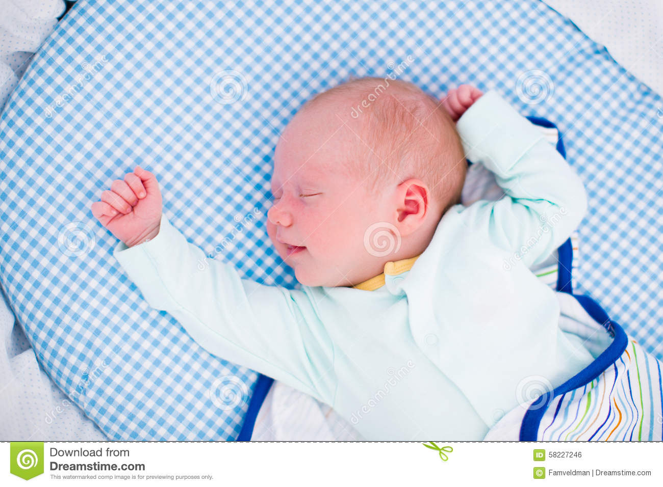 Little Swaddled Baby In White Bed Stock Photo Image