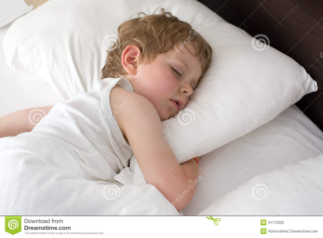 Little Sweet Toddler Boy Sleeping In His Bed Royalty Free Stock Image ...