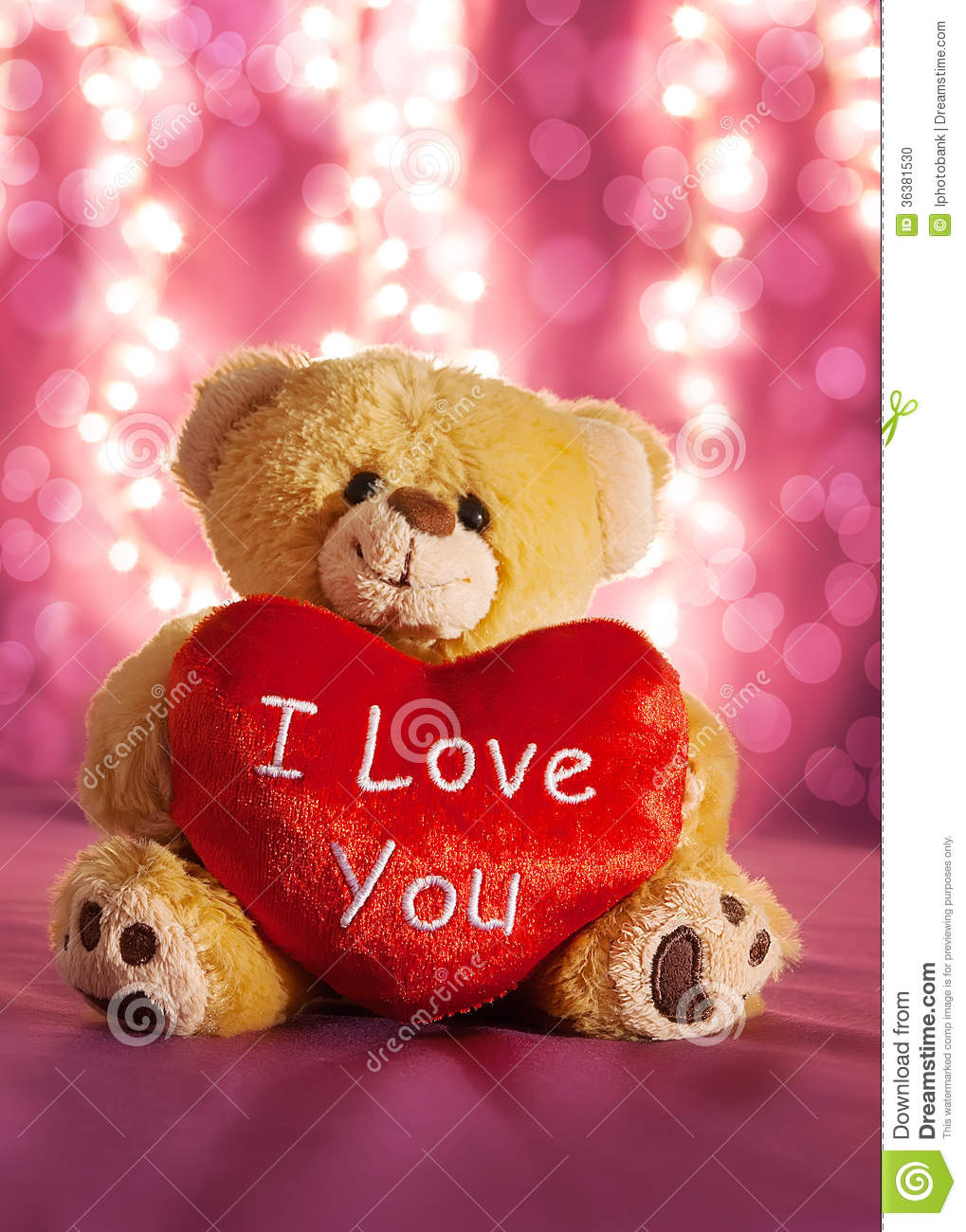 Little Teddy Bear With Big Red Heart Stock Photo - Image ...