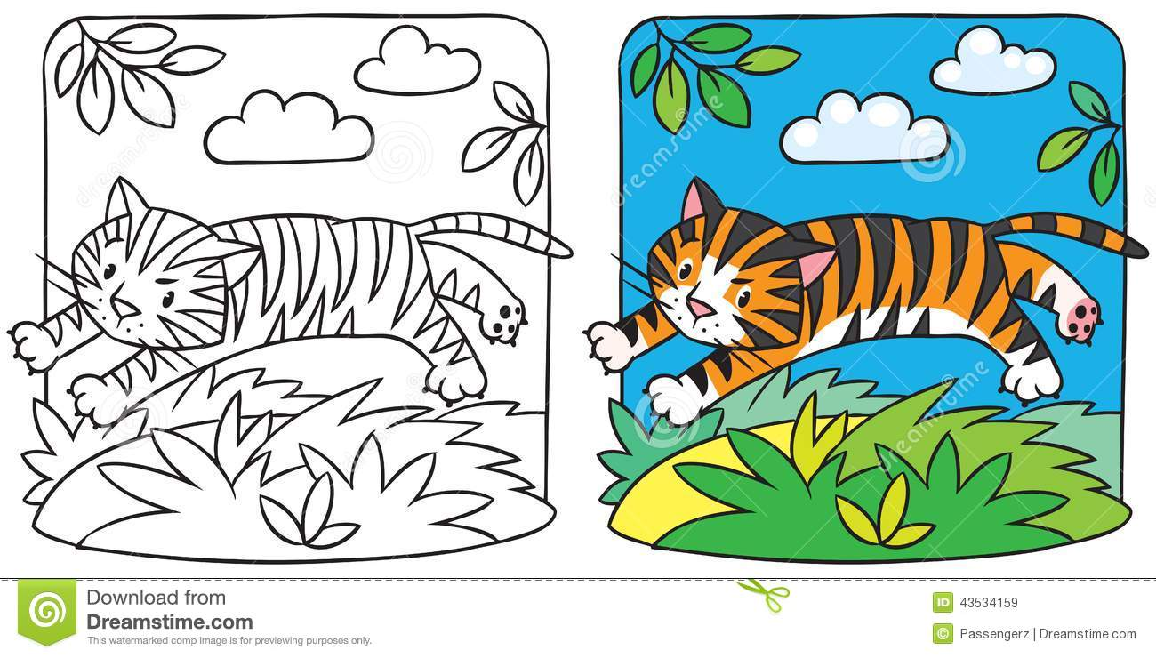 little tiger coloring book stock vector image 43534159