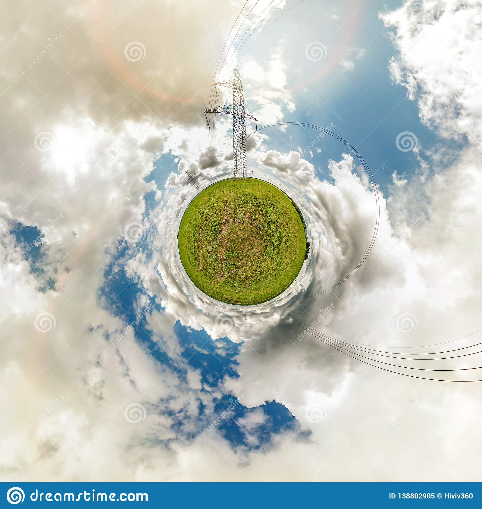 Little tiny planet. Spherical aerial 360 view panorama near high voltage electric pylon towers in field with beautiful clouds