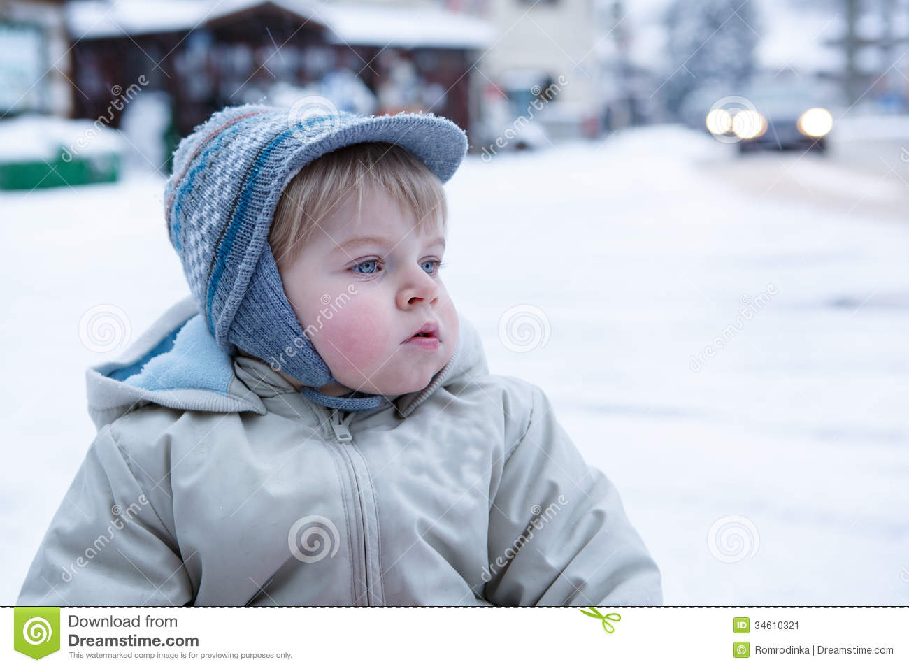 3716e60f5 Little Toddler Boy Having Fun With Snow Outdoors On Beautiful Wi ...