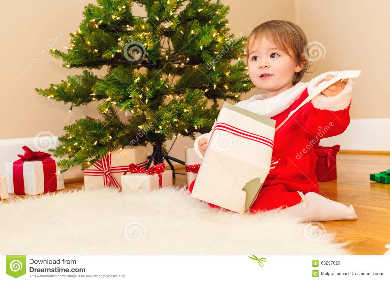 Little Toddler Girl Opening Christmas Presents Stock Image - Image ...