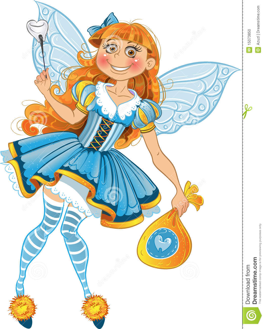 Little Tooth Fairy With Bag Of Wings Stock Photo Image 15073850