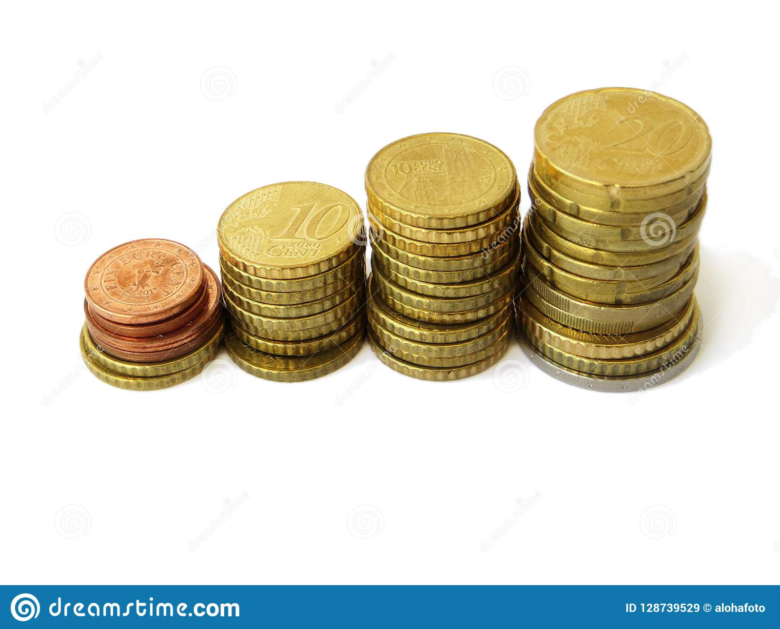 Little towers of sorted euro money copper coins used with an isolated white background