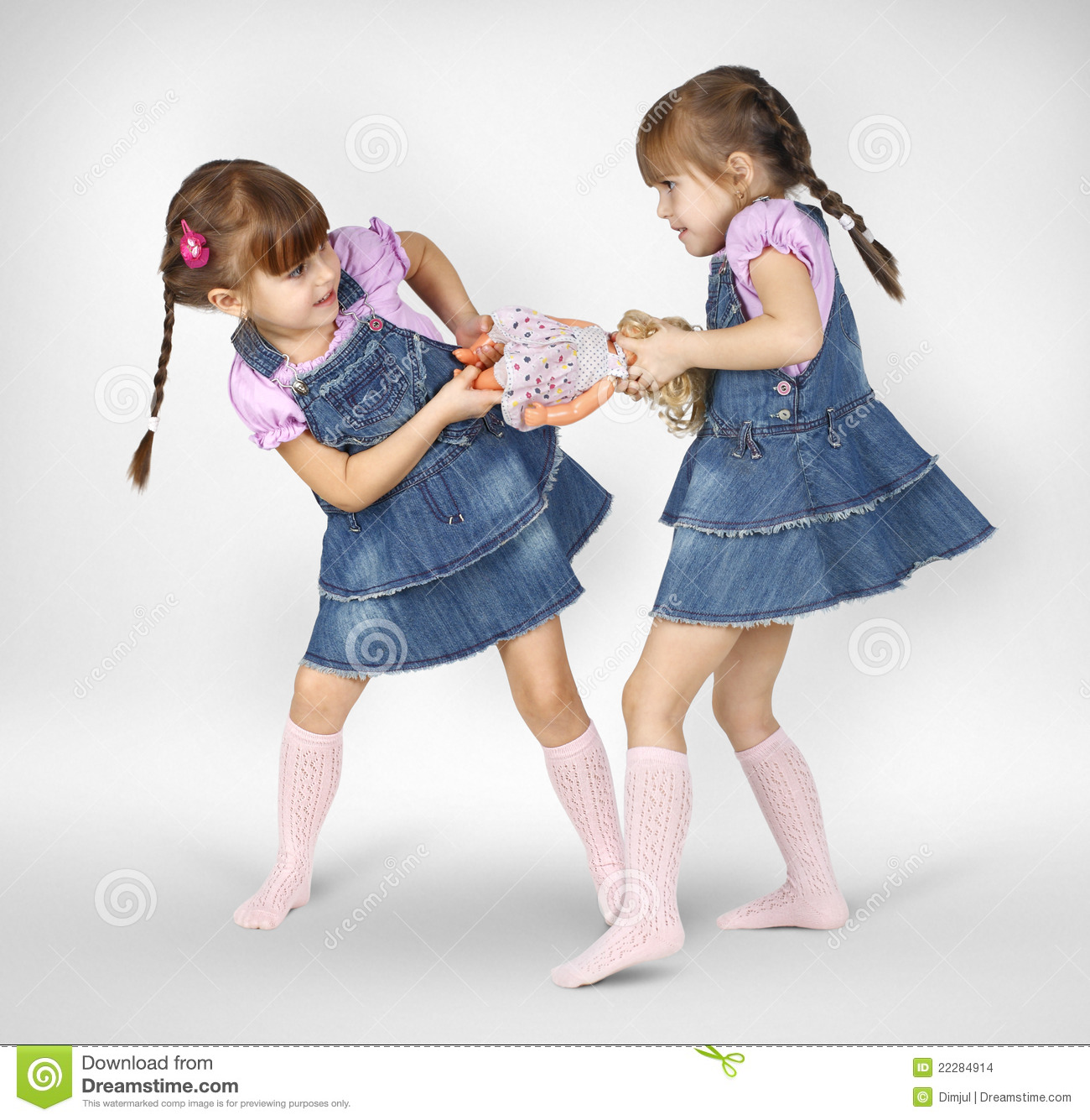 little twin girls fighting stock photo image of childhood. Black Bedroom Furniture Sets. Home Design Ideas
