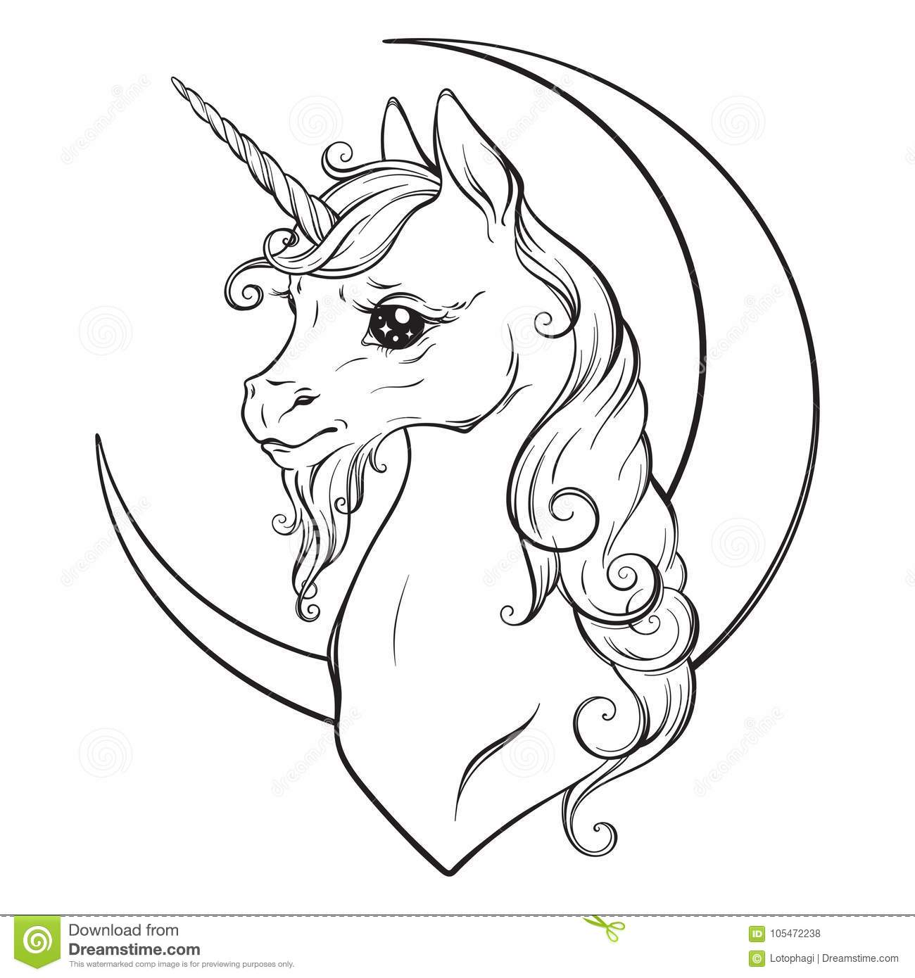 Little unicorn and crescent moon isolated vector illustration coloring book pages for adults and kids