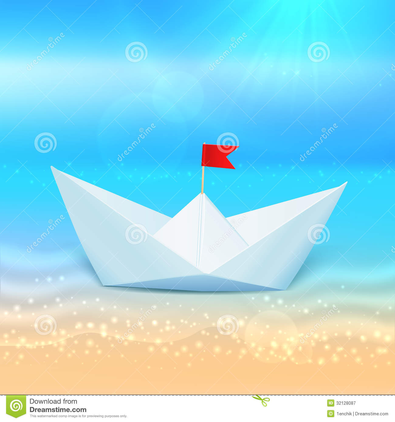 Little Vector Paper Boat In A Blue Sea Royalty Free Stock Photography - Image: 32128087
