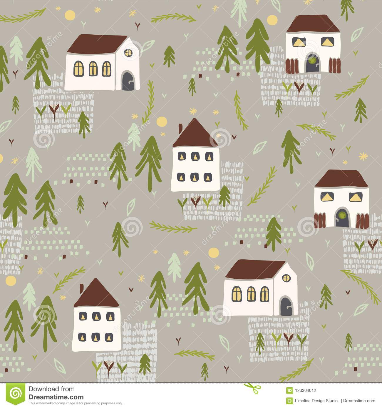 Little Village Church House n Trees Vector Pattern