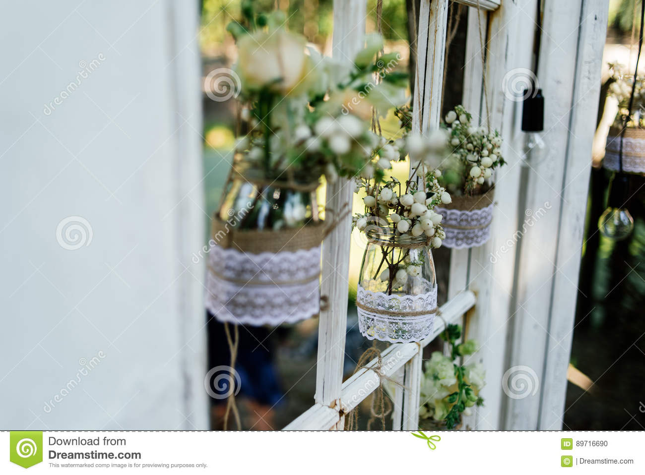 Little Wedding Floral Decorations In Rustic Style Stock Photo