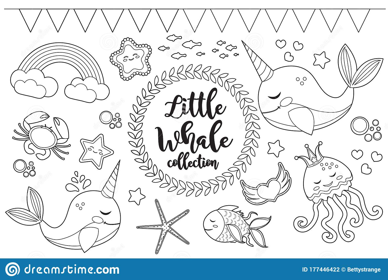 Little Whale Unicorn Set Coloring Book Page For Kids ...