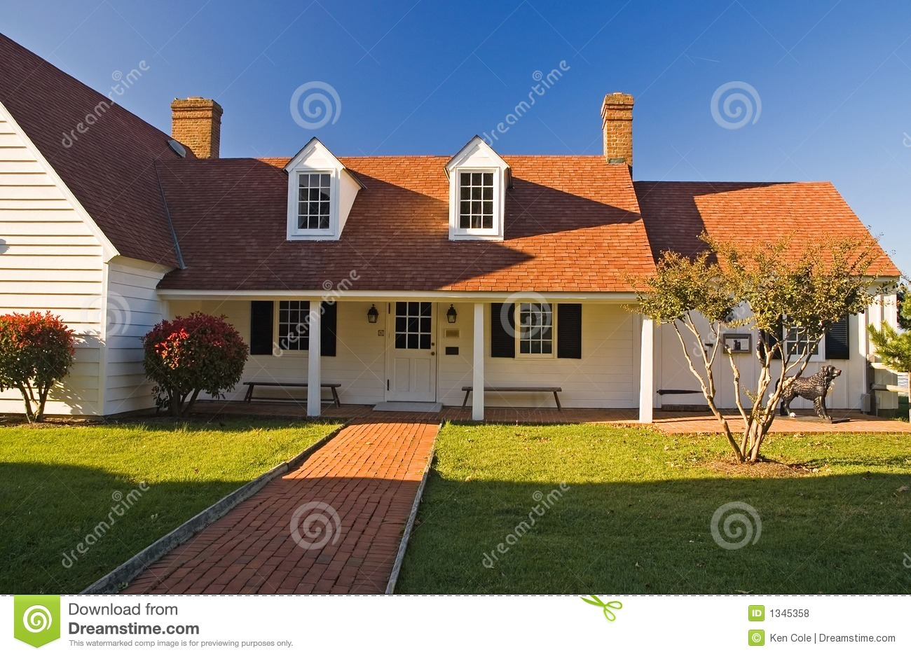 Download Little White Cottage stock photo. Image of dormers, shutters - 1345358