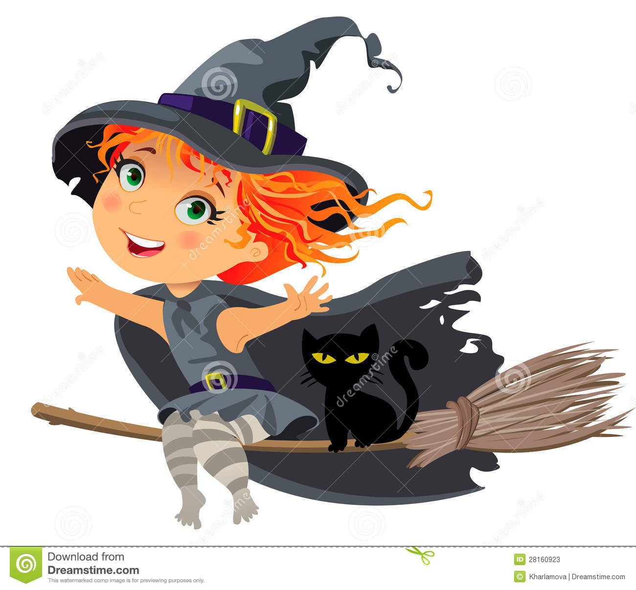 little witch flying on a broom stock photos image 28160923