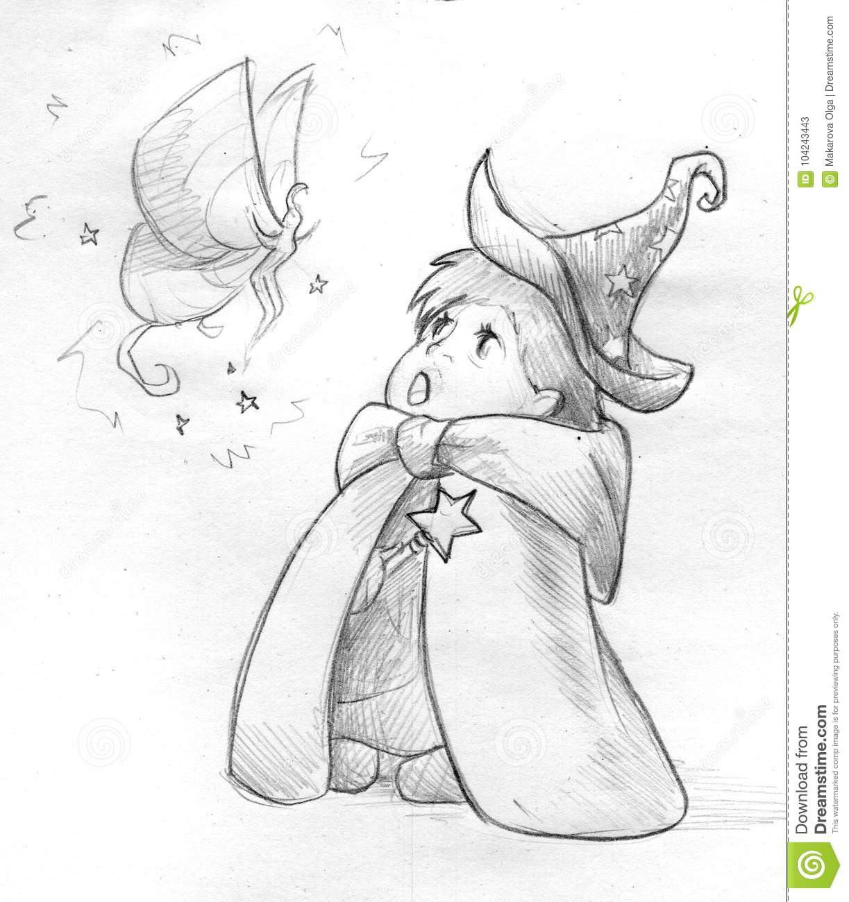 Hand drawn pencil sketch of a little child wearing wizard hat and robe and holding a wand he she is staring in awe at a little fairy in front of them