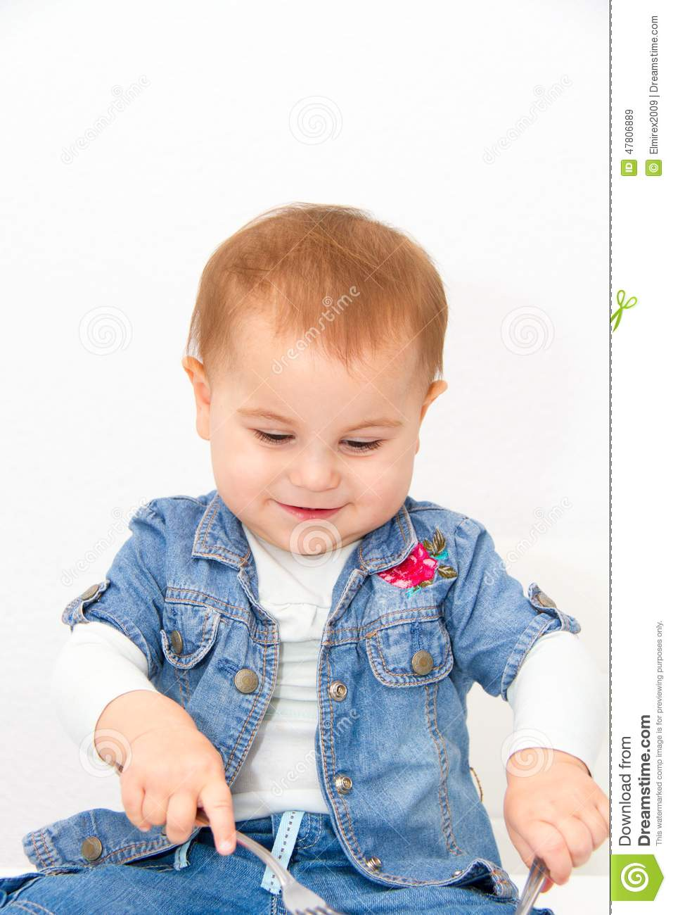 Little Young Baby Girl Want To Eat Stock Image - Image of ...