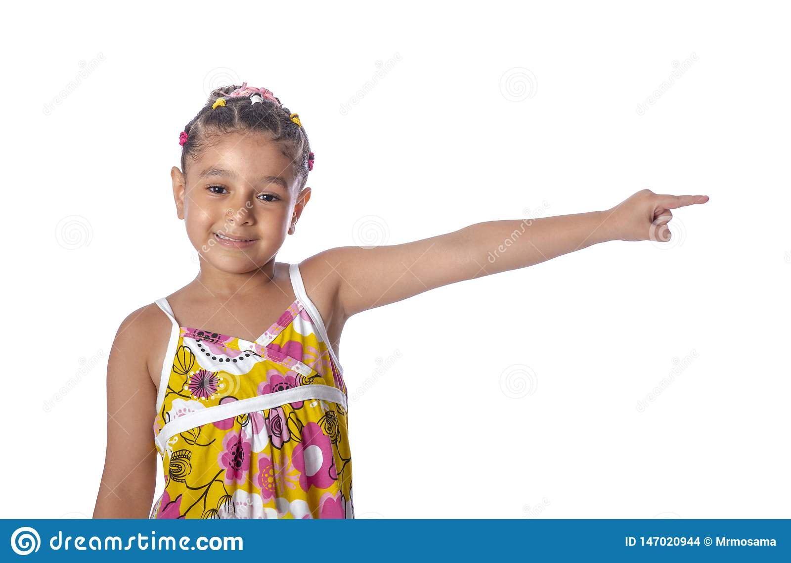Little Young Beautiful Girl Pointing to Something, Copy Space, Isolated on White
