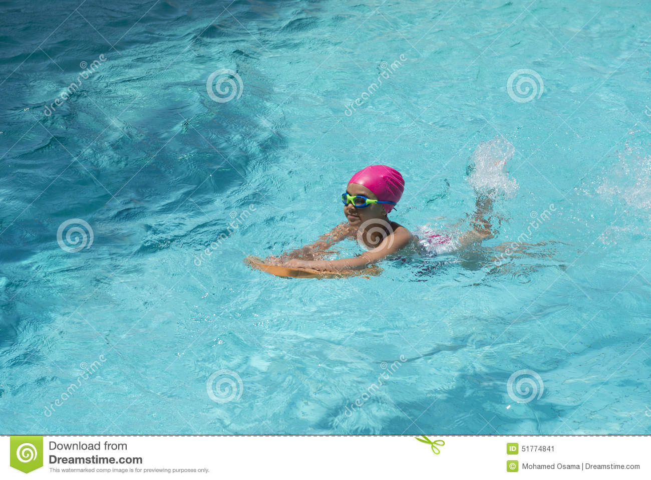 Little young girl swimming in blue water stock image - How to make swimming pool water blue ...