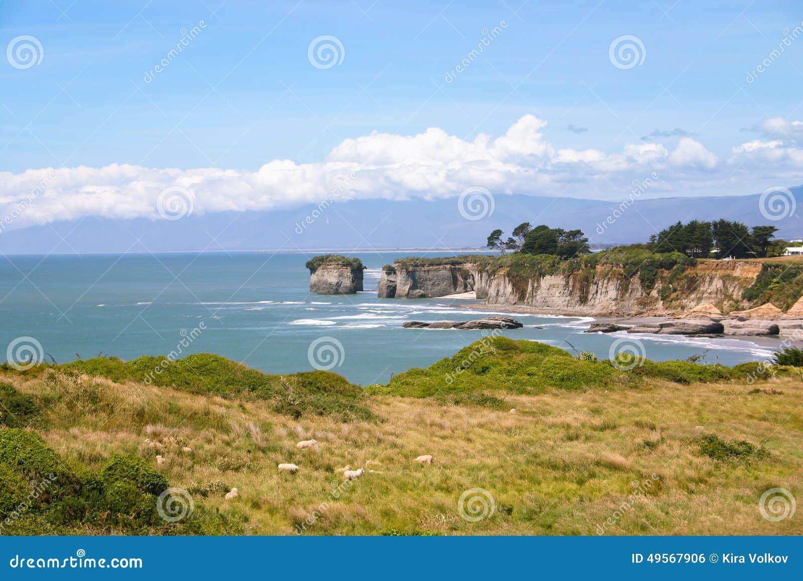 Littoral rocheux, île du sud du Nouvelle-Zélande