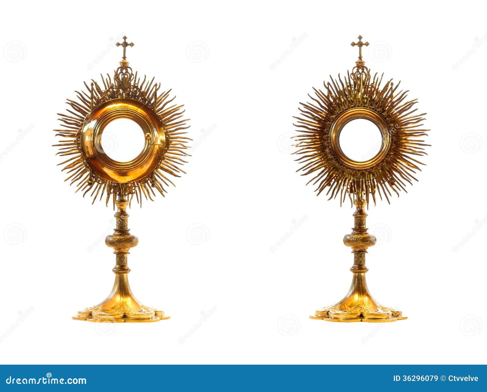 Liturgical Vessel Gold Monstrance Royalty Free Stock