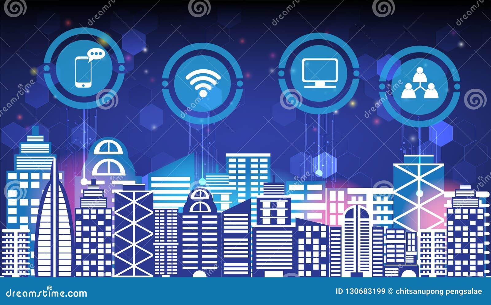 Liv för smart stad för abstrakt teknologiinnovation socialt digitalt och för trådlös stad för natt för kommunikationsnätverk, int