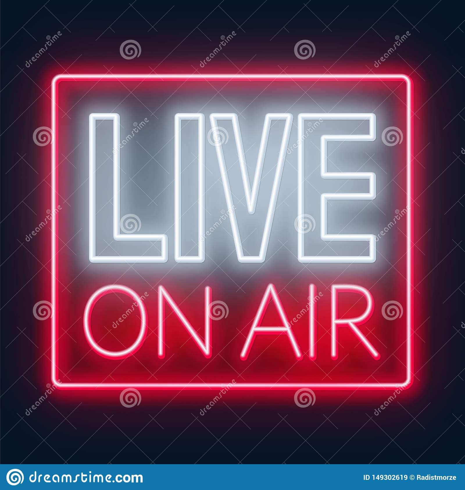 Live On Air Neon Glowing Sign On A Dark Background Stock