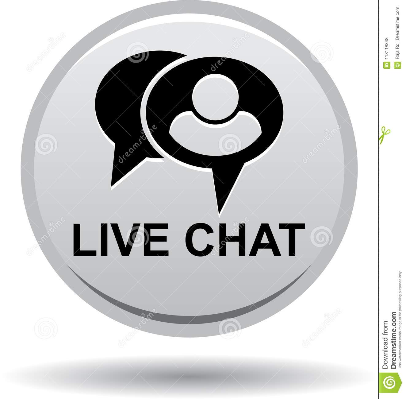 Live Chat Icon Web Button Gray Stock Vector - Illustration