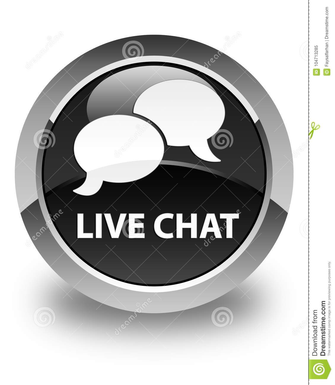 Live Chat Glossy Black Round Button Stock Illustration