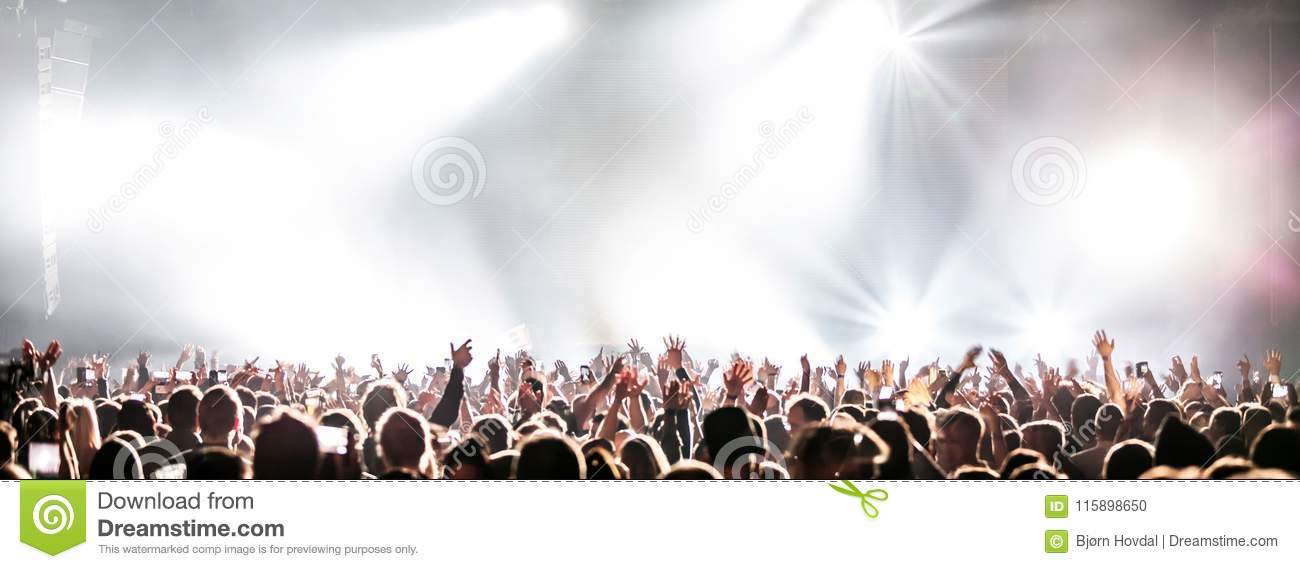 Download Live Concert With Raising Hands. Stock Photo - Image of light, arms: 115898650