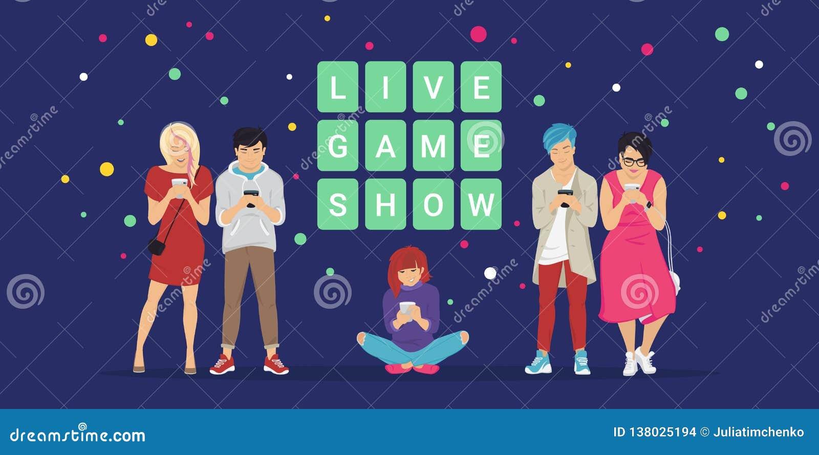 Live Game Show Mobile App Concept Flat Vector Illustration