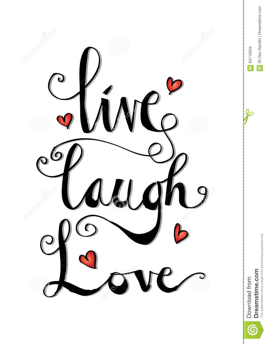 Live Laugh Love Quote Live Laugh Love Cardstock Vectorimage Of Greeting  83115934