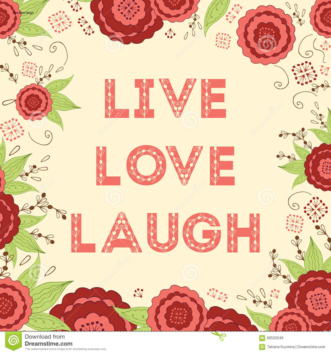 Live Laugh Love Hand Lettered Words On The Beautiful ...