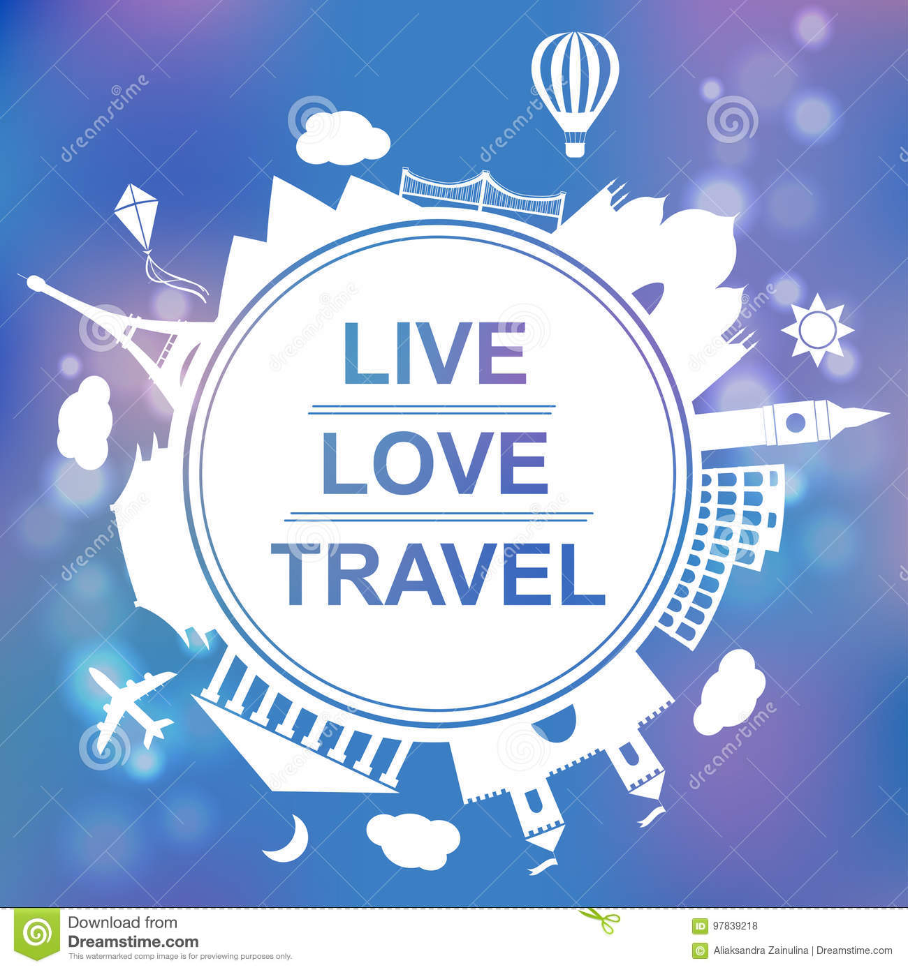 Live, love, travel concept vector illustration