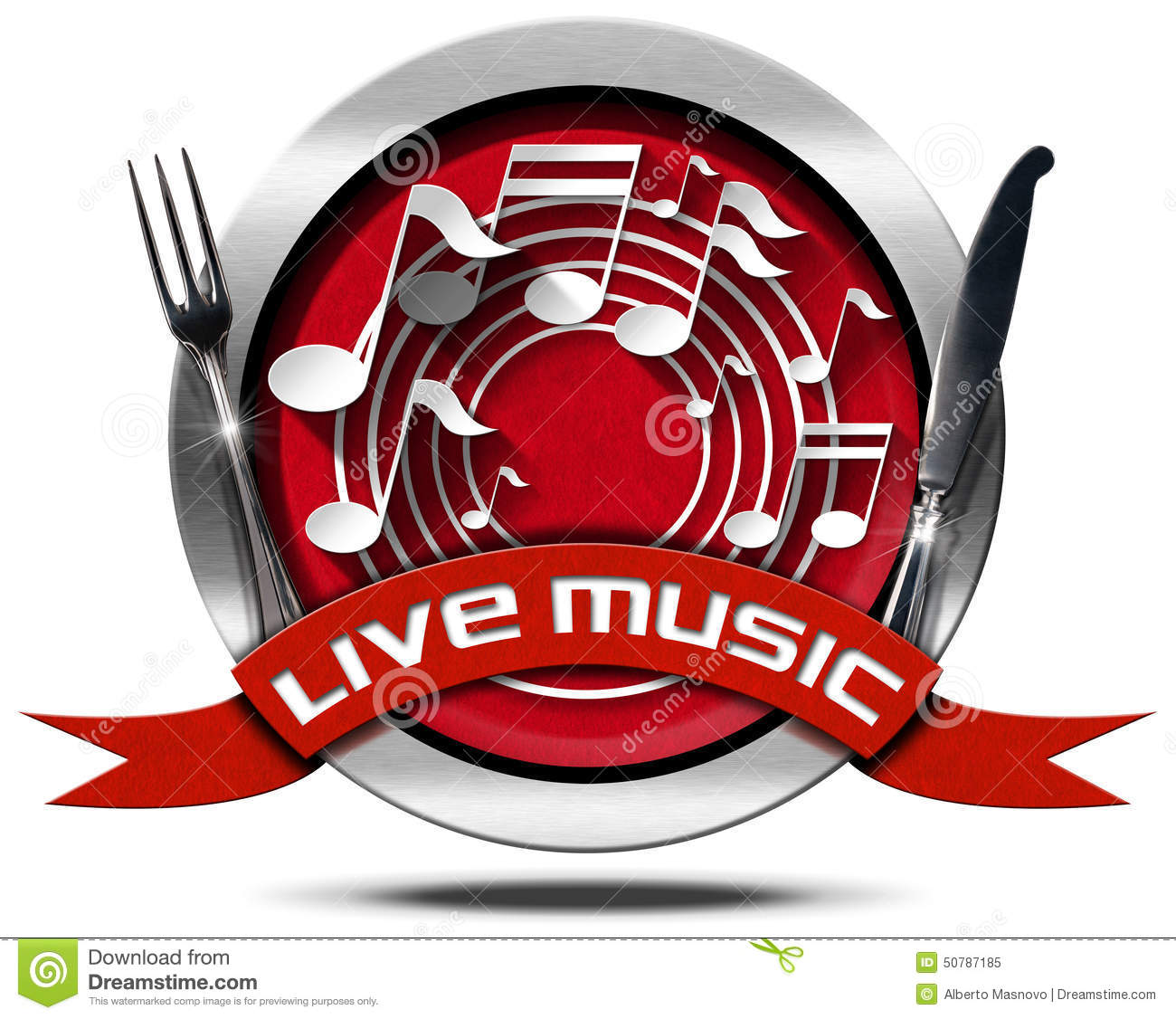 Live Music And Food Metal Icon Stock Illustration